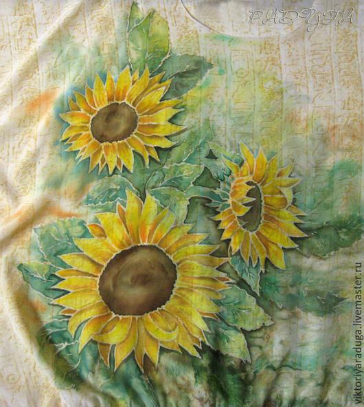 """Блузки ручной работы. Ярмарка Мастеров - ручная работа. Купить Авторская блуза """"Солнечный цветок"""" - батик. Handmade. Желтый"""