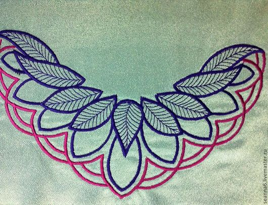 """Аппликации, вставки, отделка ручной работы. Ярмарка Мастеров - ручная работа. Купить Вышивка выреза, орнамента на одежде, картинки """"Листья в лодочке"""". Handmade."""