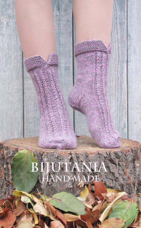 Носки, Чулки ручной работы. Ярмарка Мастеров - ручная работа. Купить Носочки серо-розовые р-р 37. Handmade.