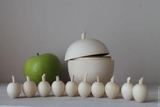 Декупаж и роспись ручной работы. Ярмарка Мастеров - ручная работа. Купить Деревянное яблоко+10 мини яблок. Handmade. Коричневый