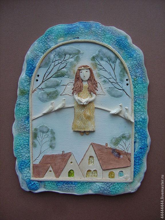 панно Ангел с голубками керамика, Картины, Санкт-Петербург, Фото №1