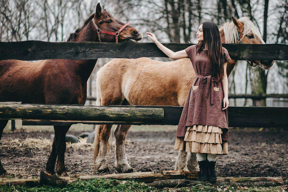Льняное бохо-платье В шоколаде, Платья, Кобрин, Фото №1
