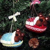 """Подарки к праздникам ручной работы. Ярмарка Мастеров - ручная работа Ёлочная игрушка """"Медвежонок спит"""". Handmade."""