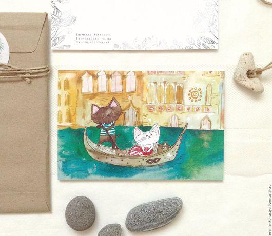 Открытки на день рождения ручной работы. Ярмарка Мастеров - ручная работа. Купить Улочки Венеции. Handmade. Тёмно-бирюзовый, венеция