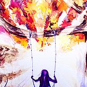 """Картины и панно ручной работы. Ярмарка Мастеров - ручная работа Картина акварелью """"Осенние качели"""". Handmade."""
