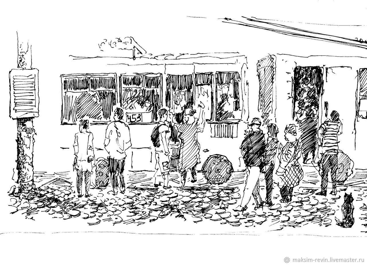 Люди, ручной работы. Ярмарка Мастеров - ручная работа. Купить «На остановке». Handmade. Люди, остановка, быстрый набросок человека