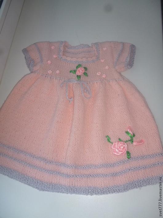 Одежда для девочек, ручной работы. Ярмарка Мастеров - ручная работа. Купить Платье для малышки. Handmade. Бледно-розовый