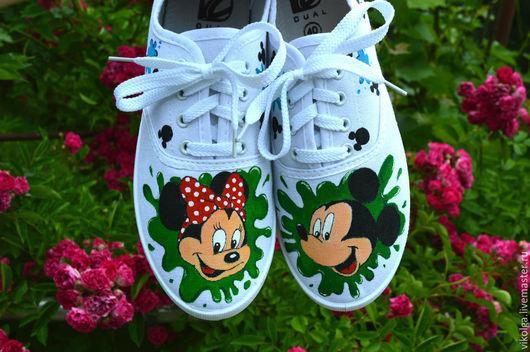 Обувь ручной работы. Ярмарка Мастеров - ручная работа. Купить Кеды Микки Маус и Минни. Handmade. Микки маус кеды