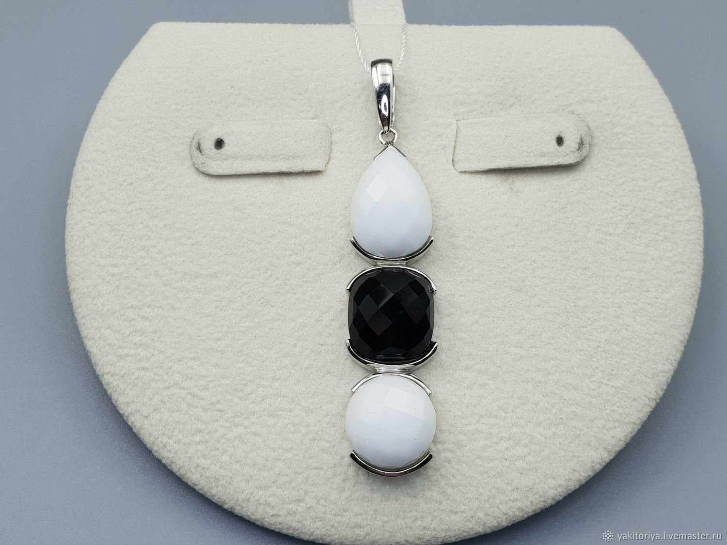 Silver pendant with black onyx and white agate, Pendants, Moscow,  Фото №1