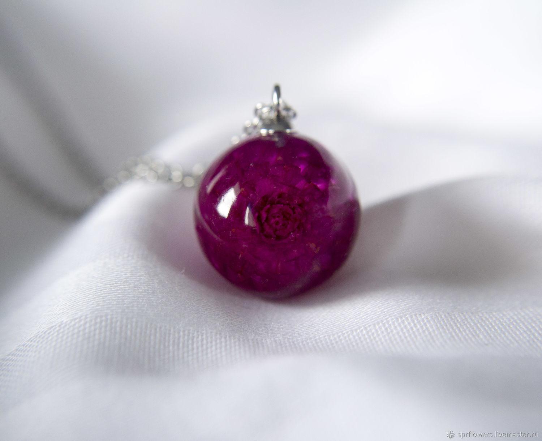Кулон с цветочком гомфрены фиолетовый, Кулон, Белгород,  Фото №1