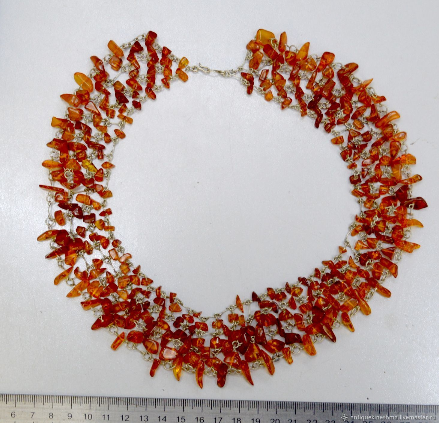 Beads necklace natural amber interesting wide, Vintage jewelry sets, Kineshma,  Фото №1