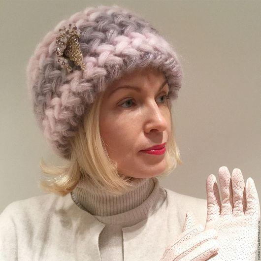Шапки ручной работы. Ярмарка Мастеров - ручная работа. Купить Шапка  Орхидея вязаная, шапка вязанная из кид-мохера, женская, теплая. Handmade.
