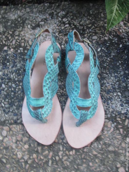Обувь ручной работы. Ярмарка Мастеров - ручная работа. Купить Сандалии плетенки изумрудные. Handmade. Тёмно-бирюзовый, сандалии из питона