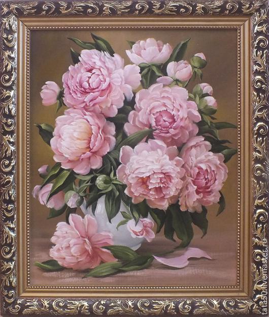 """Картины цветов ручной работы. Ярмарка Мастеров - ручная работа. Купить """" Букет пионов"""". Handmade. Бледно-розовый"""