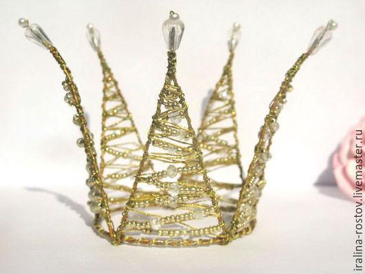 Праздничная атрибутика ручной работы. Ярмарка Мастеров - ручная работа. Купить Золотая корона. Handmade. Золотой, корона из проволоки