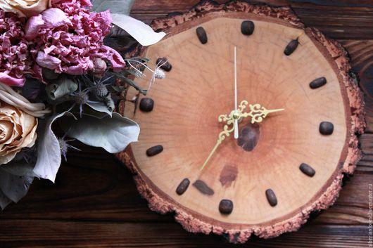 Часы для дома ручной работы. Ярмарка Мастеров - ручная работа. Купить Часы из березового спила. Handmade. Коричневый, декор интерьера