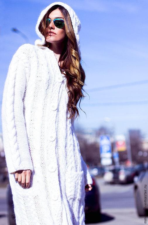 Верхняя одежда ручной работы. Ярмарка Мастеров - ручная работа. Купить Пальто вязаное. Handmade. Белый, шерсть 30%