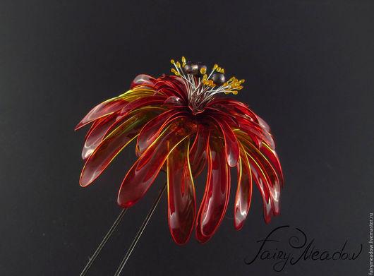 Шпилька для волос. Fairy Meadow - Авторские заколки ручной работы. Купить шпильку `Огненная хризантема`. Handmade.