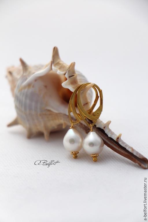 """Серьги ручной работы. Ярмарка Мастеров - ручная работа. Купить серьги с натуральным жемчугом """"Леди"""". Handmade. Белый, натуральный жемчуг"""