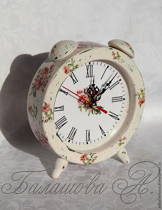 """Часы для дома ручной работы. Ярмарка Мастеров - ручная работа. Купить Часы """"Розовый сад"""". Handmade. Кремовый, часы-будильник"""