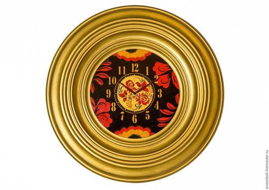 Часы для дома ручной работы. Ярмарка Мастеров - ручная работа. Купить настенные часы Хохлома. Handmade. Золотой, хохломская роспись