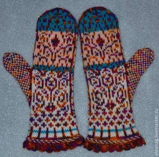 Варежки, митенки, перчатки ручной работы. Ярмарка Мастеров - ручная работа. Купить Варежки жаккардовые Перо Жар-Птицы. Handmade.