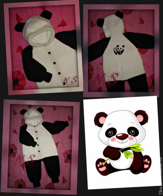 """Одежда унисекс ручной работы. Ярмарка Мастеров - ручная работа. Купить Комбинезон детский с капюшоном """"Панда 2"""" ( 9 мес.). Handmade."""