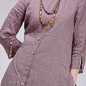 Одежда ручной работы. Ярмарка Мастеров - ручная работа Льняное бохо платье 4-4 какао. Handmade.