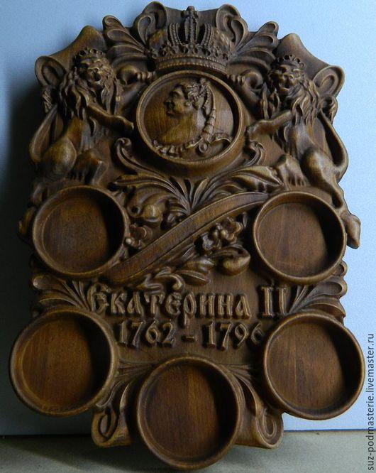 Подарки для мужчин, ручной работы. Ярмарка Мастеров - ручная работа. Купить Деревянное резное панно для нумизматов под 5 копеек Екатерины II. Handmade.
