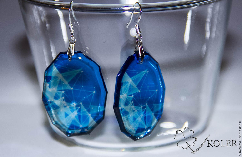 Transparent blue geometry earrings, Earrings, St. Petersburg,  Фото №1