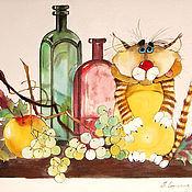 """Картины и панно ручной работы. Ярмарка Мастеров - ручная работа Картина на шелке """"Натюрморт с котом"""". Handmade."""