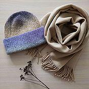 Аксессуары handmade. Livemaster - original item Hat and scarf set lilac beige. Handmade.