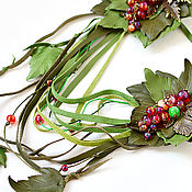 Украшения handmade. Livemaster - original item Green choker transformer leather red berry decoration Lariat. Handmade.