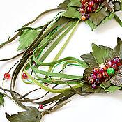 Зеленое колье трансформер из кожи Красна ягодка украшение лариат