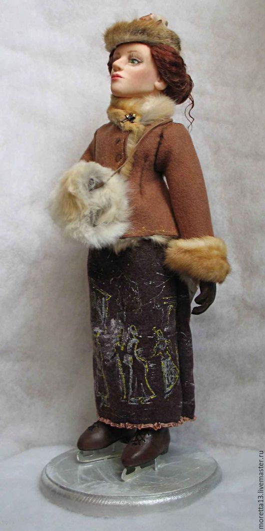 Коллекционные куклы ручной работы. Ярмарка Мастеров - ручная работа. Купить В Юсуповском саду. Handmade. Коньки, зима
