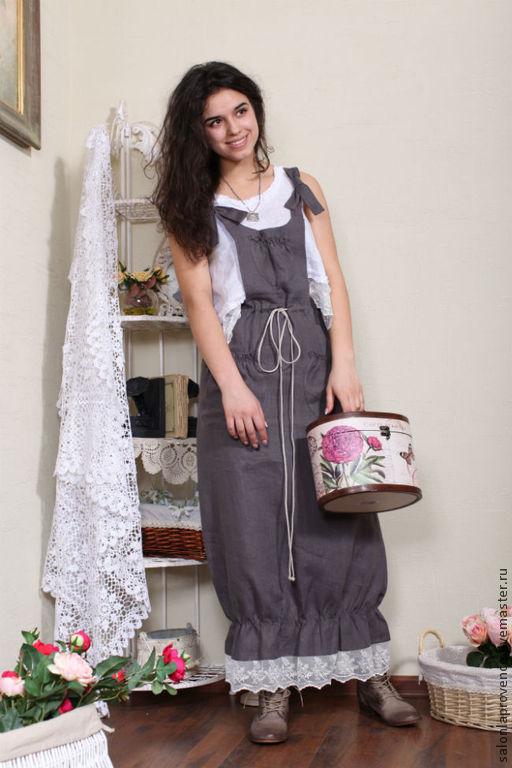 Платья ручной работы. Ярмарка Мастеров - ручная работа. Купить Комплект БОХО сарафан и блузка. Handmade. Серый, бохо сарафан