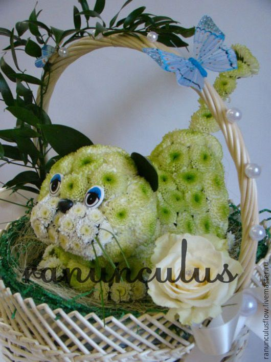 Букеты ручной работы. Ярмарка Мастеров - ручная работа. Купить Кот из цветов. Handmade. Зеленый, игрушки из цветов, котик из цветов