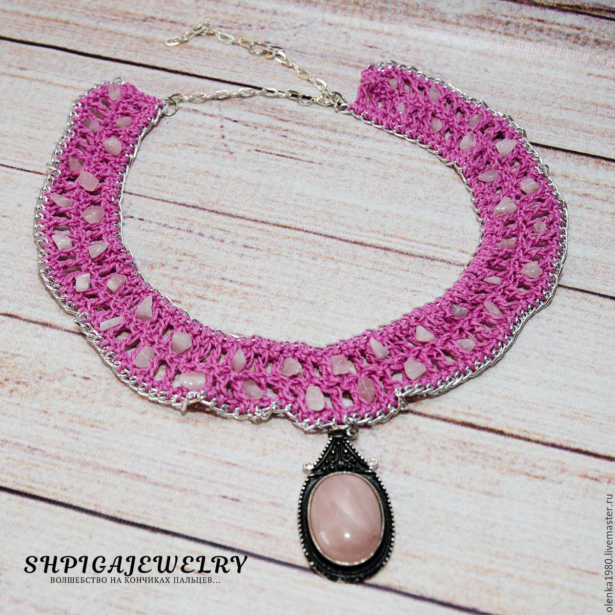 Knitted choker-collar with natural rose quartz `Pink`