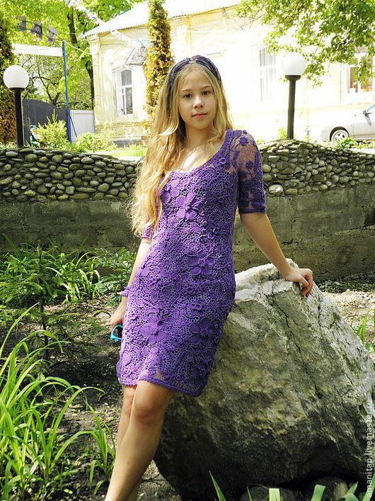 Платья ручной работы. Ярмарка Мастеров - ручная работа. Купить Платье вязаное ирландское кружево Фиолетовые сны с рукавами. Handmade.
