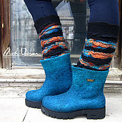 """Обувь ручной работы. Ярмарка Мастеров - ручная работа Валяные ботинки """" Бирюзовое настроение """". Handmade."""