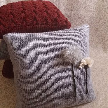 Textiles handmade. Livemaster - original item The pillow is knitted from wool mixture Unearthly Flowers. Handmade.
