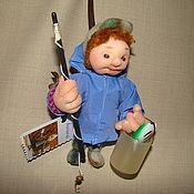 """Куклы и игрушки ручной работы. Ярмарка Мастеров - ручная работа кукла- подвеска из капрона """" Рыбак """"в технике скульптурный текстиль. Handmade."""