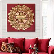 Для дома и интерьера handmade. Livemaster - original item Healing picture with gold Mandala of Health and Longevity. Handmade.