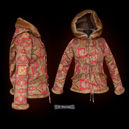 Верхняя одежда ручной работы. Ярмарка Мастеров - ручная работа. Купить Куртка с длинным капюшоном. Handmade. Пейсли, зимняя мода