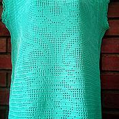 Одежда ручной работы. Ярмарка Мастеров - ручная работа Туника в филейной технике мятная. Handmade.