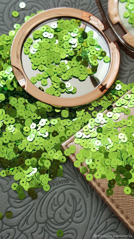 """Плоские пайетки """"Andrea Bilics"""" Италия 4мм Ярко-зеленый, Пайетки, Иерусалим,  Фото №1"""