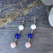 Украшения handmade. Livemaster - original item Earrings Beads blue pink. Handmade.