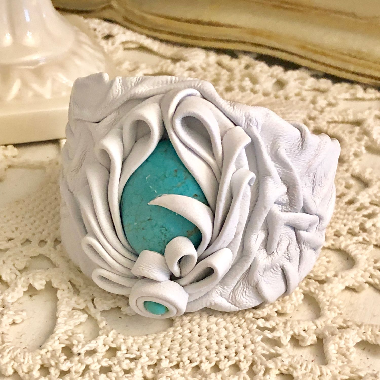 Iceberg bracelet (Leather, turquoise), Bead bracelet, Kaluga,  Фото №1