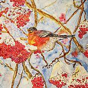Картины и панно handmade. Livemaster - original item Paintings Bullfinch On A Branch Bird On A Branch Red Mountain Ash Bullfinches In Winter. Handmade.