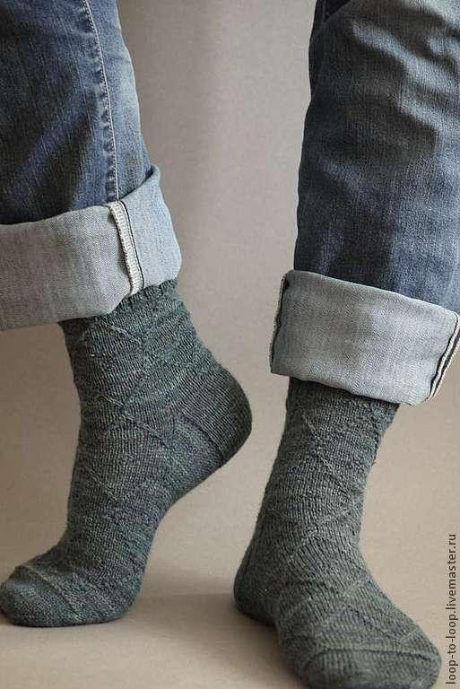 Носки, Чулки ручной работы. Ярмарка Мастеров - ручная работа. Купить Вязаные мужские носки с бамбуком. Handmade. Тёмно-зелёный